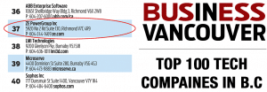 ZE PowerGroup has been ranked 37th  in the top 100 Tech companies in B.C. for 2019.